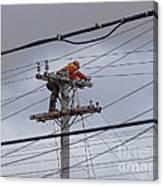Rewiring A Power Pole Canvas Print