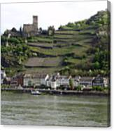 Rhine Castle And Terraced Vineyards Canvas Print
