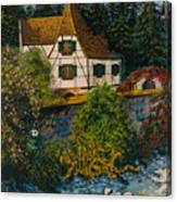 Rhine River Cottage Canvas Print
