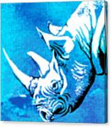 Rhino Animal Decorative Blue Poster 1 - By  Diana Van Canvas Print