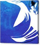 Rhino Animal Decorative Blue Poster 4 - By Diana Van Canvas Print