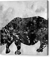 Rhinoceros-black Canvas Print