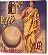 Rhum - Bottle - Earth - Map - Poster - Vintage - Wall Art - Art Print  - Girl  Canvas Print