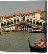 Rialto Bridge In Venice With Gondola Canvas Print
