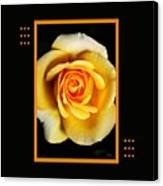 Rich And Dreamy Yellow Rose  With Design Canvas Print
