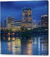 Richmond Skyline Above James River At Night 11972 Canvas Print