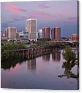 Richmond Skyline Sunset Pink Canvas Print