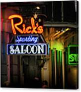 Ricks Sporting Saloon Canvas Print
