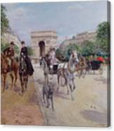 Riders And Carriages On The Avenue Du Bois Canvas Print