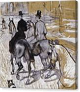 Riders On The Way To The Bois Du Bolougne Canvas Print