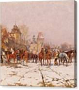 Riders Outside A Village In A Winter Landscape Canvas Print