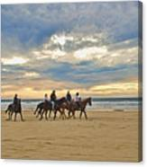 Riding At The Beach Canvas Print