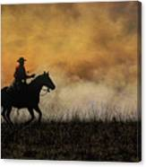 Riding The Fire Line Canvas Print