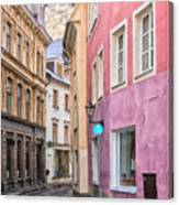 Riga Narrow Road Digital Painting Canvas Print