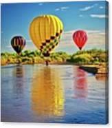 Rio Grande balloon Reflection, Albuquerque, NM Canvas Print