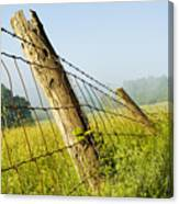 Rising Mist With Falling Fence Canvas Print