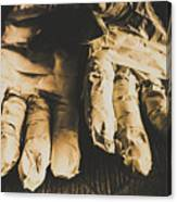 Rising Mummy Hands In Bandage Canvas Print