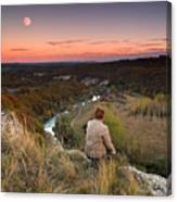 River And Moon Canvas Print