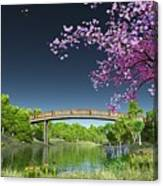 River Bridge Cherry Tree Blosson Canvas Print