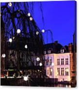 River Dijver, Rozenhoedkaai Area At Night, Bruges City Canvas Print