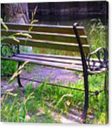 River Fishing Bench Canvas Print