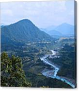 River  Flowing From Mountain Canvas Print