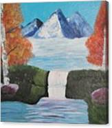River Flowing Through Mountains Canvas Print