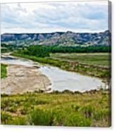 River Landscape In Northwest North Dakota  Canvas Print