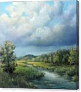 River Landscape Spring After The Rain Canvas Print