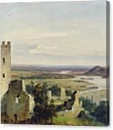 River Landscape With Castle Ruins Canvas Print