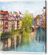 River Pegnitz In Nuremberg Old Town Germany Canvas Print
