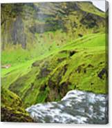 River Skoga And Green Nature In Iceland Canvas Print