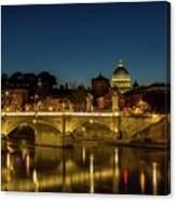 River Tiber And Vatican At Night Canvas Print