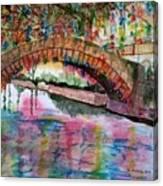 River Walk At Christmas Canvas Print