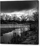 River With Dark Cloud In Black And White Canvas Print