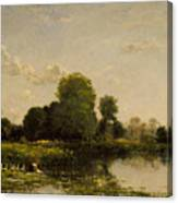Riverbank With Fowl Canvas Print