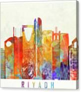 Riyadh Landmarks Watercolor Poster Canvas Print