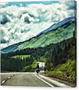Road Alaska Bicycle  Canvas Print