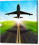 Road And Plane Canvas Print