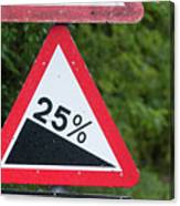 Road Sign Warning Of A 25 Percent Incline. Canvas Print
