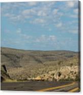 Road Through New Mexico Desert High Noon Canvas Print