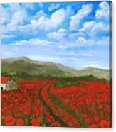Road Through The Poppy Field Canvas Print