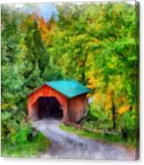 Road To The Covered Bridge Canvas Print