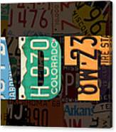 Road Trip Usa Map Recycled Vintage License Plate Lettering Phrase ...