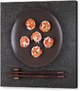 Roasted Shrimps Served On Plate Canvas Print