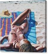 Robin At The Beach Canvas Print