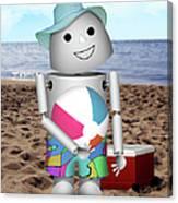 Robo-x9 At The Beach Canvas Print
