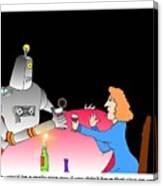 Robot Dining Cartoon Canvas Print