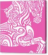 Rocinante Horse - White On Pink Canvas Print