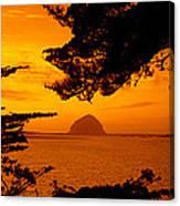 Rock In A Lake At Dusk, Morro Rock Canvas Print